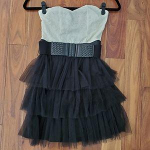 Cream & Black Strapless Mini Dress